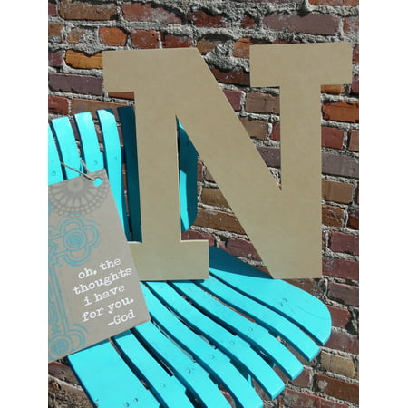Craft Wooden Letter 6'' N, Unfinished Wood Wall Letter, - Wooden Letter