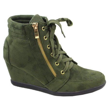 5d83098e4a6a SNJ - Women High Top Wedge Heel Sneakers Platform Lace Up Shoes Ankle  Bootie (FREE SHIPPING) - Walmart.com