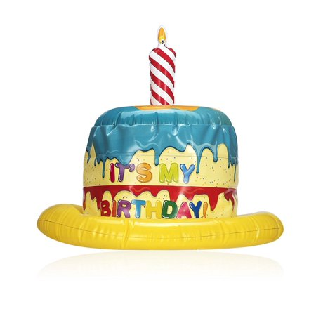 NPW USA Kids Inflatable Birthday Cake Hat Wacky With Candle