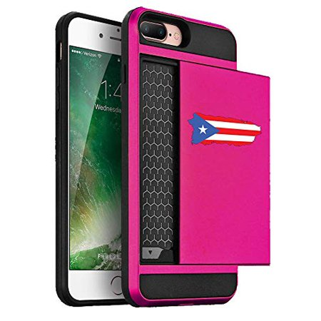 Wallet Credit Card ID Holder Shockproof Hard Case Cover for Apple iPhone Puerto Rico Puerto Rican Flag (Hot-Pink, for Apple iPhone 7 / iPhone 8)](Flag Holder Case)