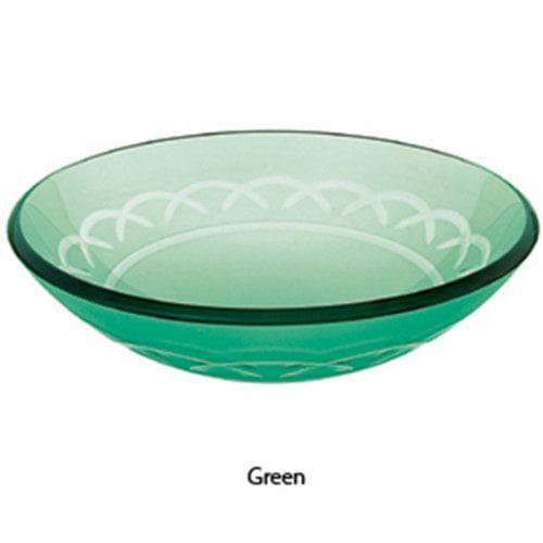 Decolav Green Etched Art Glass Vessel Sink Bowl