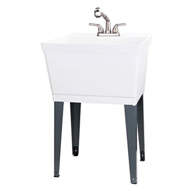 utility sink laundry tub with pull out faucet sprayer spout heavy duty slop sinks for washing room basement garage or shop large free standing
