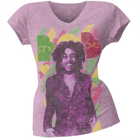 Bob Marley - One Love Burnout Juniors T-Shirt](Purple Bob)