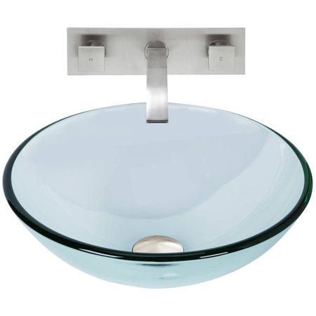Crystalline Glass Vessel Sink and Titus Wall Mount Faucet Set, Brushed Nickel ()