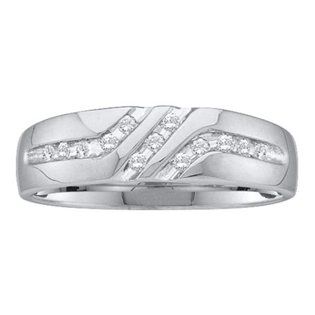 10kt White Gold Mens Round Channel-set Diamond Triple Row Wedding Band Ring 1/8 (Diamond Mens Channel Band)