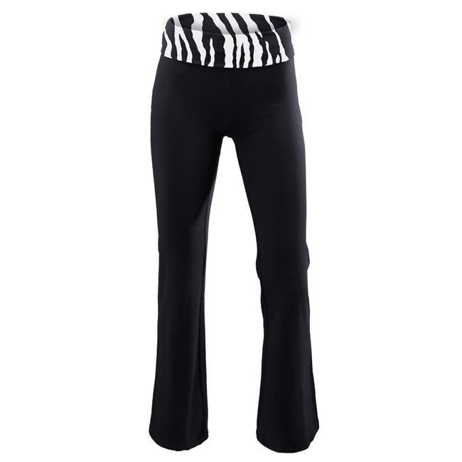 Printed Color Waist Band Yoga Pant for Junior, Zebra - Medium - image 1 of 1