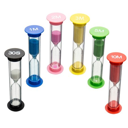 6pcs Set 6colors 30sec 1min 2min 3mins 5mins 10mins Colorful Hourglass Sandglass Sand Clock Timers