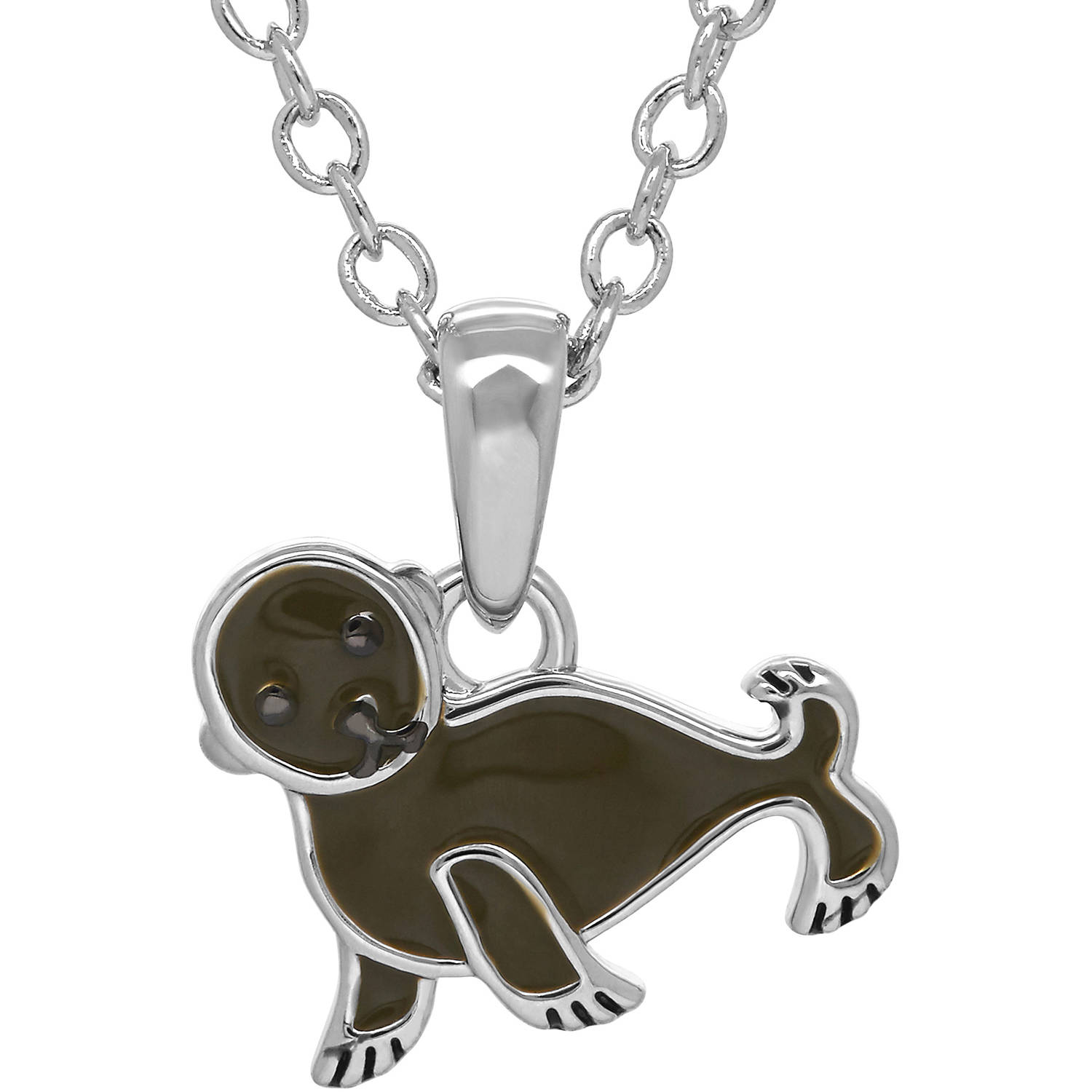 Animal Planet Rhodium-Plated and Enamel Sea Lion Pup Pendant, 14""