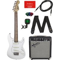 Squier by Fender Short Scale Stratocaster -Olympic White Bundle with Frontman 10G Amp, Cable, Tuner, Strap, Picks, Fender Play Online Lessons, and Austin Bazaar Instructional DVD