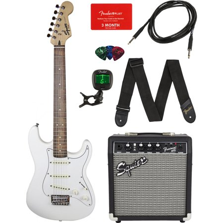 Squier by Fender Short Scale Stratocaster - Olympic White Bundle with Frontman 10G Amp, Cable, Tuner, Strap, Picks, Fender Play Online Lessons, and Austin Bazaar Instructional (Best Amps For Fenders)