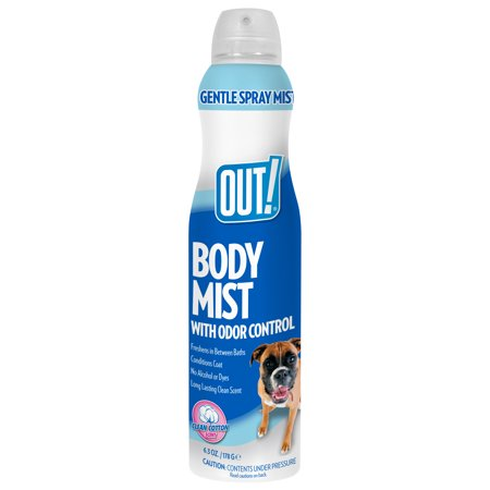 OUT! Clean Cotton Dog Cologne Body Mist Spray with Odor Control, 6.3 (Dog Mist)