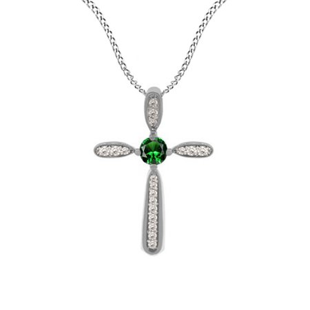 Simulated Green Emerald Cz   White Natural Diamond Cross Pendant Necklace 14K Gold Over Sterling Silver