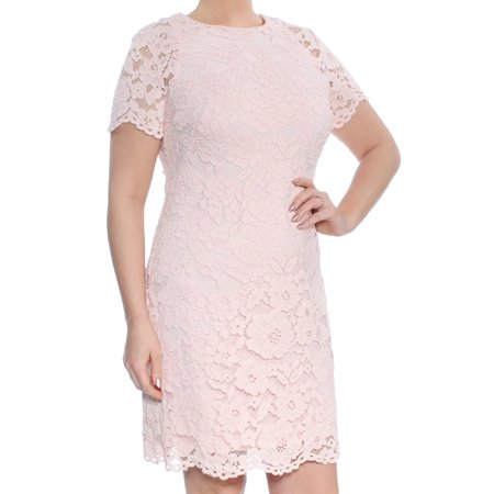 RALPH LAUREN Womens Pink Lace Short Sleeve Jewel Neck Above The Knee Sheath Party Dress  Size: -