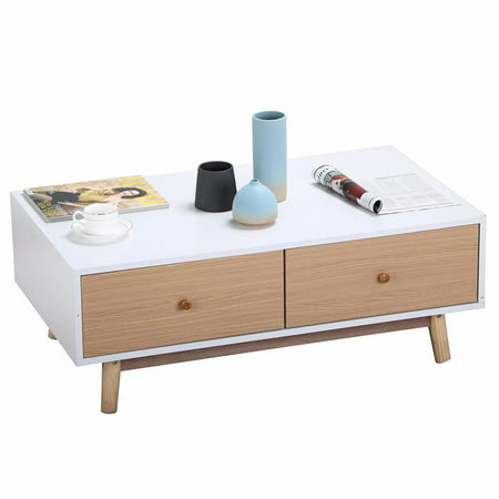 Yaheetech Modern 2 White Drawers Coffee Table Solid Wood Legs Center ...