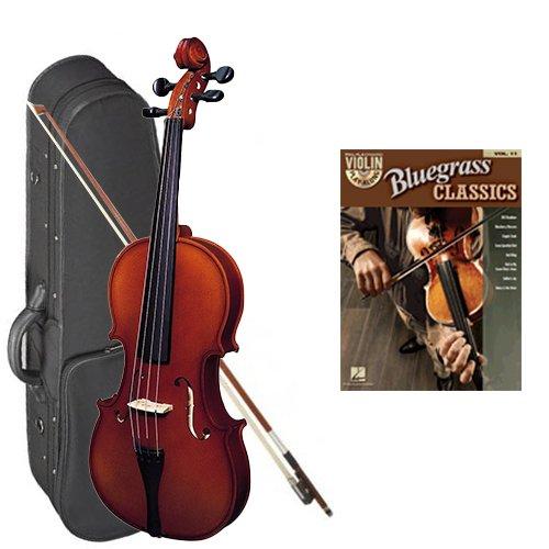 Strunal 220 Student Violin Bluegrass Classics Play Along Pack - 1/2 Size European Violin w/Case & Play Along Book