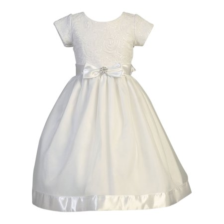 Girls White Embroidered Tulle Sequin Holly Communion Dress