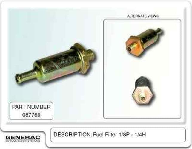 Generac 087769 OEM RV Guardian Generator Fuel Filter - Facet Electronic Fuel  Pump with 1/8