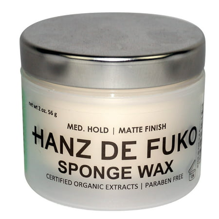 HANZ DE FUKO Sponge Wax Mens Hair Grooming 2oz Medium Hold Matte