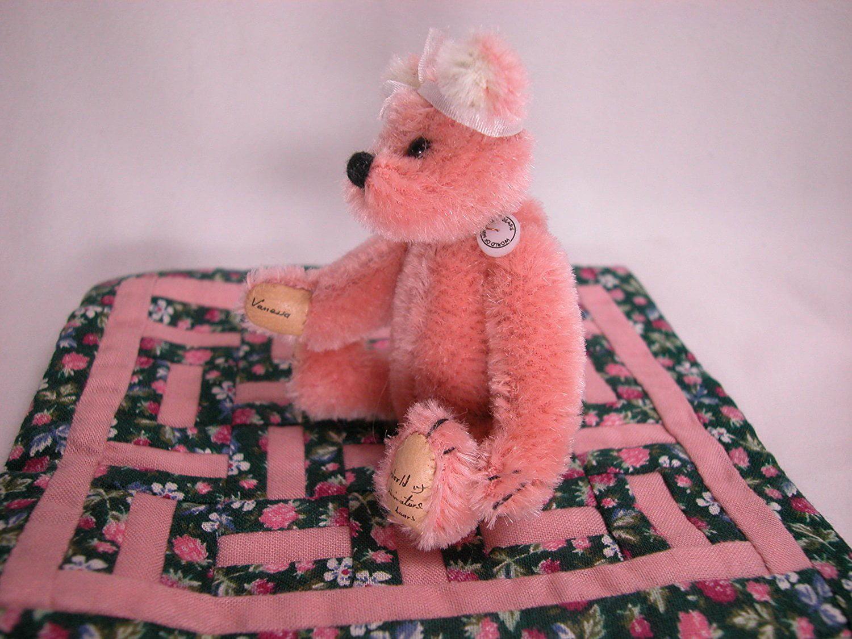 "World of Miniature Bears 4/"" Mohair Bear Vanessa #725 Collectible Miniature Bear"