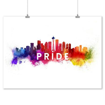 Seattle, Washington - Gay Pride - Skyline Abstract - Lantern Press Artwork (9x12 Art Print, Wall Decor Travel Poster)](Gay Pride Decorations)