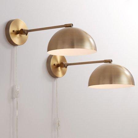 Allen Antique Lighting - 360 Lighting Brava Antique Brass Down-Light Wall Lamp Set Of 2