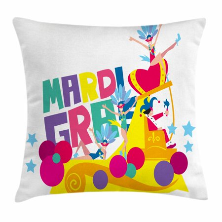 Mardi Gras Throw Pillow Cushion Cover, Festival Parade Theme Dancers in Costumes Colorful Dots Stars Abstract Design, Decorative Square Accent Pillow Case, 16 X 16 Inches, Multicolor, by Ambesonne