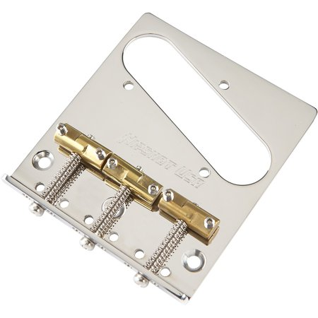 Hipshot Stainless Steel Tele Bridge 3 Hole Mount with Compensated Saddles (Compensated Bridge Saddle)