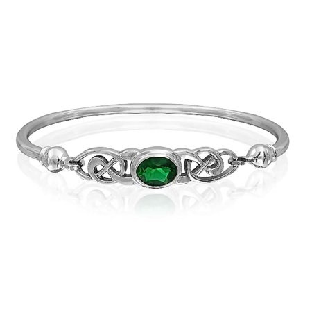 Bling Jewelry Simulated Emerald Glass Celtic Knot Bangle Bracelet Silver