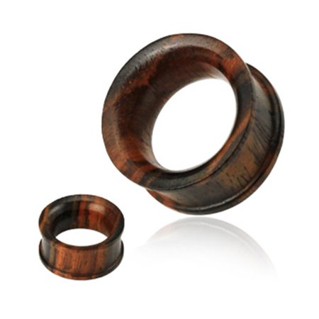 Pair Of Concave Double Flat Flared Tunnel Organic Sono Wood Plugs,Gauge (Thickness):0 (8.0Mm)