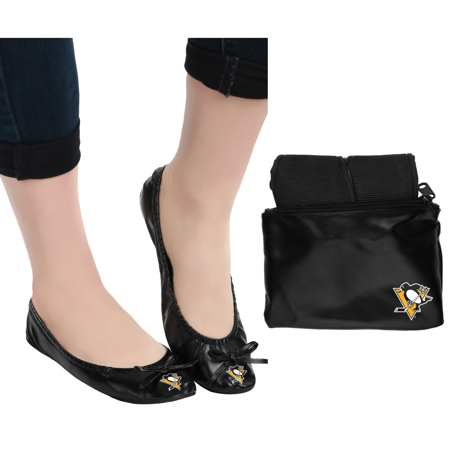 Pittsburgh Penguins NHL Womens Foldable Flats Shoes with Clutch - Small ()