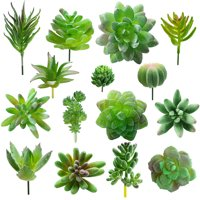 M2cbridge 15 Pcs Faux Succulent Assorted -Fake Succulent Plants,Unpotted Realistic Plants for Decoration,Artificial Succulents Picks Arrangements Decor, Small and Large Assorted Size with Stems