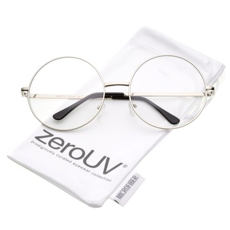 zeroUV - Oversize Metal Frame Slim Temple Clear Lens Round Eyeglasses 60mm - 60mm Sophisticated and easy to wear, these round sunglasses are designed with an oversize shape and a lightweight full metal frame. Finished with slim metal temples and round clear lenses, these round sunglasses are perfect for creating a nerdy chic look. Made with a metal based frame, English style nose pieces, metal hinges, and polycarbonate UV400 clear lenses.
