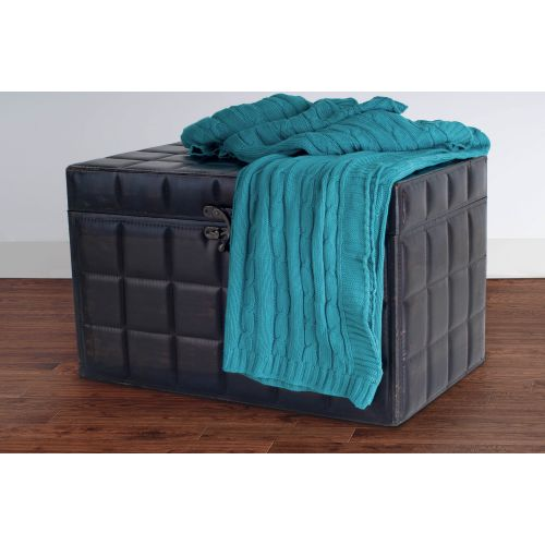 """Rizzy Home TH0155 50"""" x 60"""" Cable Knit Sweater Fabric Throw"""