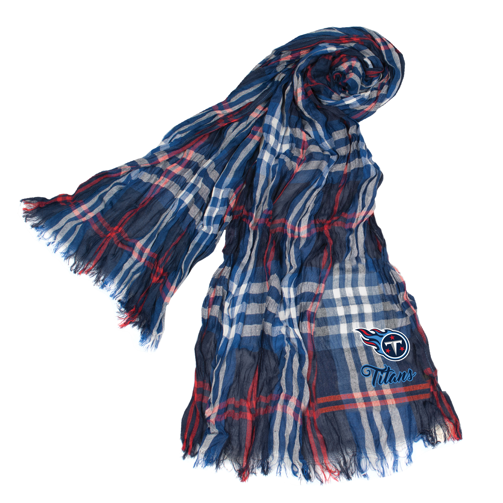 Little Earth - NFL Crinkle Plaid Scarf, Tennessee Titans