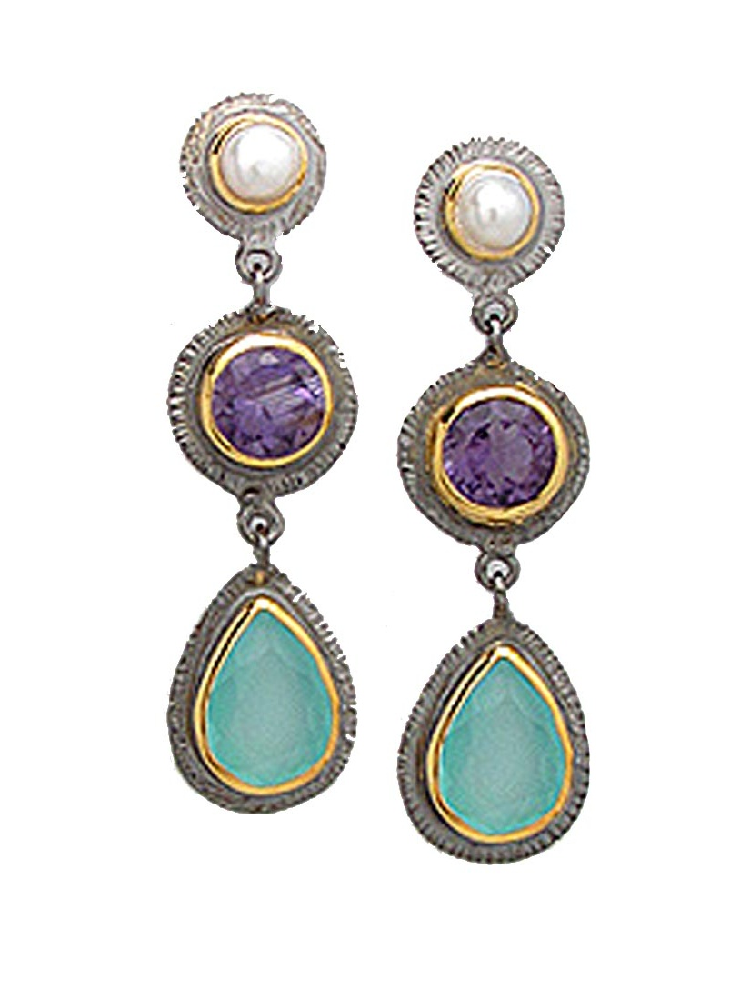 Striking Gold Plated Earrings with Freshwater Cultured Pearls, Amethyst and Light Sky Blue Chalcedony gems. by
