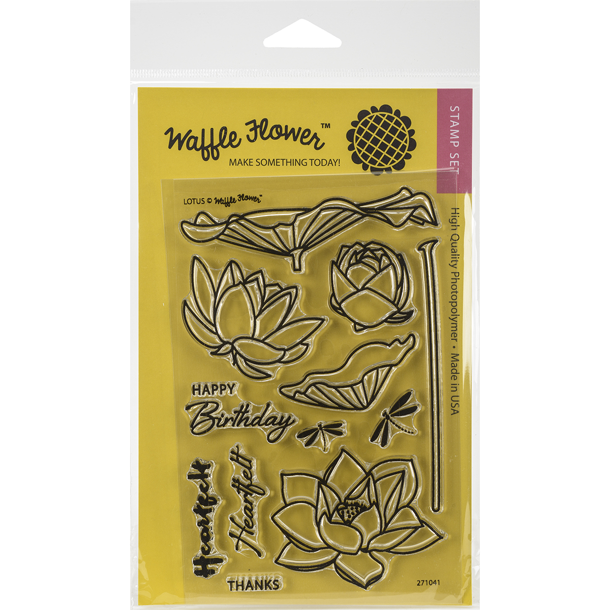 "Waffle Flower Crafts Clear Stamps 4""X6""-Lotus"