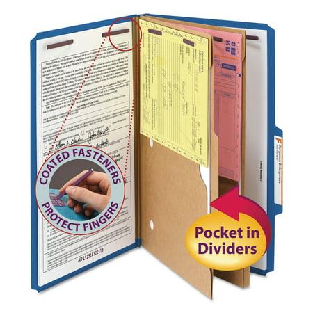 - Smead Pressboard Classification Folders, Two Pocket Dividers, Legal, Dark Blue, 10/Box -SMD19077