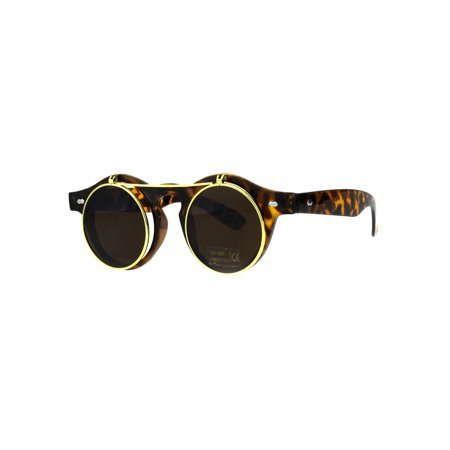 Hipster Filp Up Circle Lens Plastic Horned Sunglasses Tortoise Brown