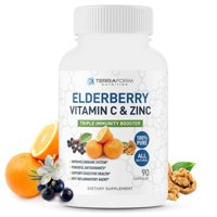 Natural Elderberry Capsules with Zinc & Vitamin C - Daily Immune Support Supplement  Triple Immune Support 600mg - Made in USA  3 Month Supply