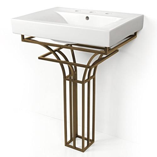 DVontz Iron Virtus 24'' Single Pedestal Bathroom Vanity Set