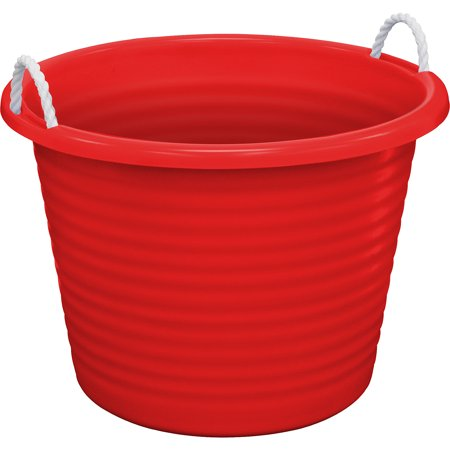 Red Plastic Tub, Perfect for Ice and Drinks, 17-Gallon (15 Gallon Tub)