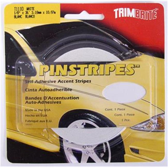 TRIMBRITE T1110 Pinstripe Tape, White, 0.12 In. X 36 Ft.