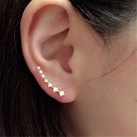 SEXY SPARKLES Ear Climbers/Ear Crawlers Clear Rhinestones Earrings Cuff Climber Pins ()