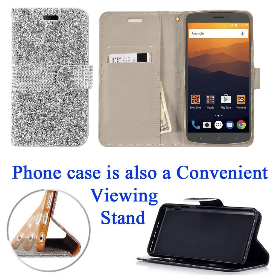 """for 6"""" ZTE Max Blue 4G LTE maxblue Case Phone Case Hybrid Diamond Wallet Kick Stand Card Pocket Pouch Screen Flip Cover Blush Pink"""