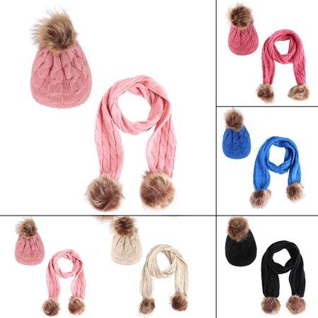 Winter Baby Warm Toddler Girl Boy Crochet Knit Pompom Hat Cap Beanie Scarf Set