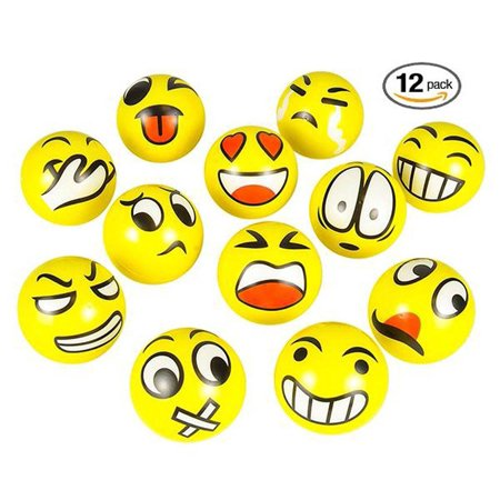 Set of 24 Emoji Face Yellow Foam Soft Stress Novelty Toy Balls (3 inches)…](Stress Balls With Logo)