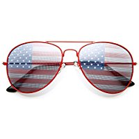 Eyewear Patriot USA Flag Classic Teardrop Red Aviator Sunglasses UV400