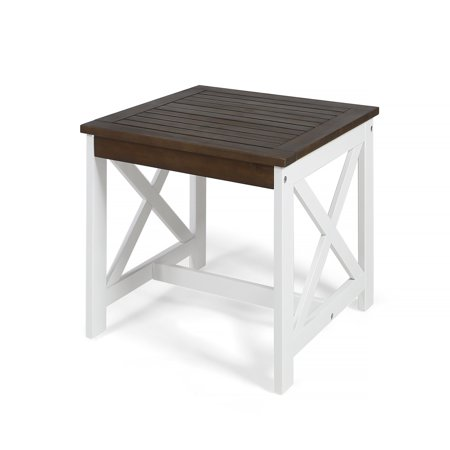 Christopher Knight Home Cassara Outdoor Farmhouse Cottage Square Acacia Wood End Table (Knight Base Table)