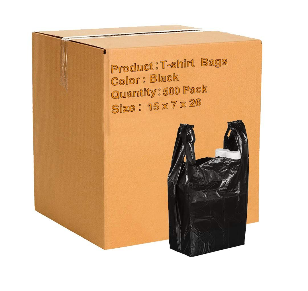 Reusable bags. 500 Pack Thank You Plastic Bags 15x7x26 Carry-Out T-Shirt Bag