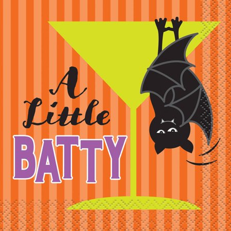 A Little Batty Halloween Cocktail Napkins, 5 in, 16ct - Halloween Punch Cocktail